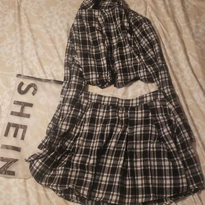 Shein Matching Plaid Outfit.
